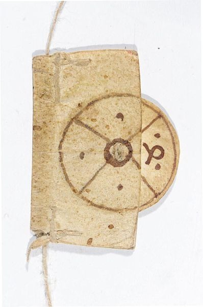 "erikkwakkel:  Smart bookmark This object was in common use in medieval libraries, even though very few survive today. It's a bookmark - and a smart one for that matter. As with our own bookmarks, it tells you where you are in the book: the rope was attached to the binding and placed between two pages. The reader subsequently pulled down the marker along the rope to the line where he had stopped reading. Since an open medieval book often presented four text columns, the reader then turned the disk to indicate in which column he had left off. In this case we read ""4"" in medieval Arabic numerals - the column on the far right. So this tiny piece of parchment marks it all: page, column and line. That's what I call smart. Source unknown, likely 13th or 14th century"