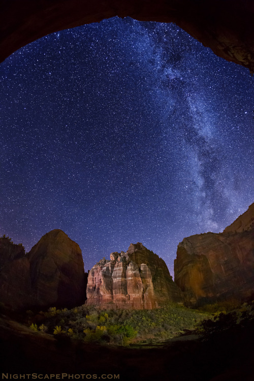 "llbwwb:  Stars over The Organ, Zion NP (by IronRodArt - Royce Bair (""Star Shooter""))"