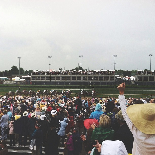 The First Saturday in May // #kentuckyderby #kyderby #orb #triplecrown   This image comes just after the horses turned to the home stretch of the Kentucky Derby. You'll notice Orb, the third horse from the right. At this point, he had gained 14 places from his lowest point in the race. He went on to thunder past the rest of the field on his way to the Derby victory.
