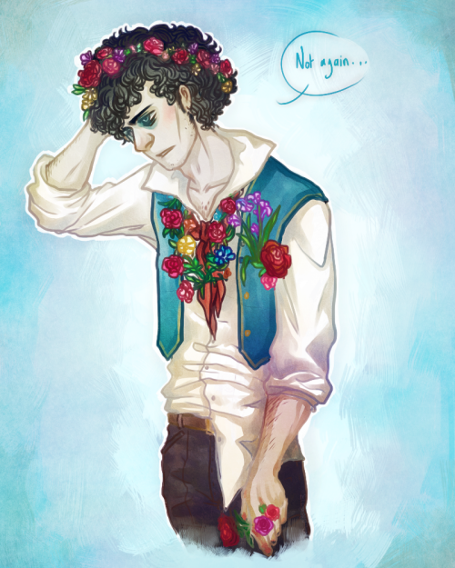 coldcigarettes:  Art trade with Perplexingly. Grantaire covered in flowers. c: Probably by Jehan, and apparently it's not the first time it happened.  I love drawing Grantaire, and I love drawing flowers and I loved drawing this, so I hope you'll like it. <3