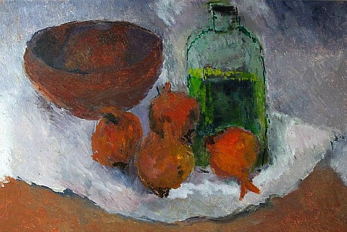 Georgina Mills Still Life with Gin and Onions 1989