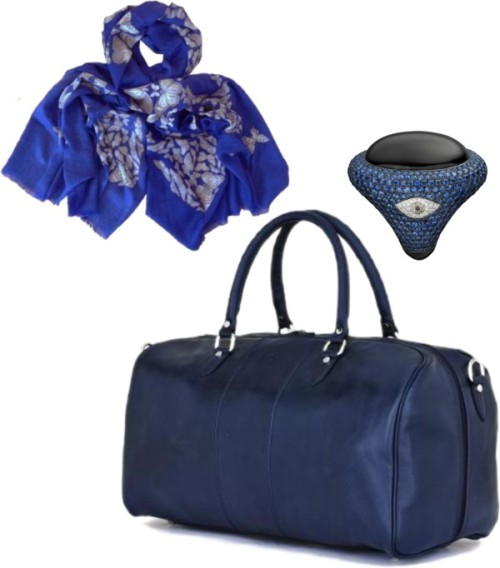Weekend Getaway by luxurygiftservice on PolyvoreBlu Scuro Holdall, GiftVault - The Luxury Gift Service, $625 / Butterfly Skull Cobalt Blue Eco Shatoosh | GiftVault.com - Luxury…, $730 / Eye Me Up Ring, GiftVault - The Luxury Gift Service, $16,830
