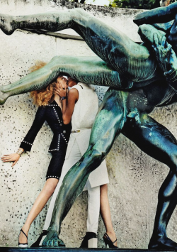 "vogueweekend:  ""To Rome with Love"", Raquel Zimmermann and Joan Smalls photographed by Mario Testino in Vogue March 2013"