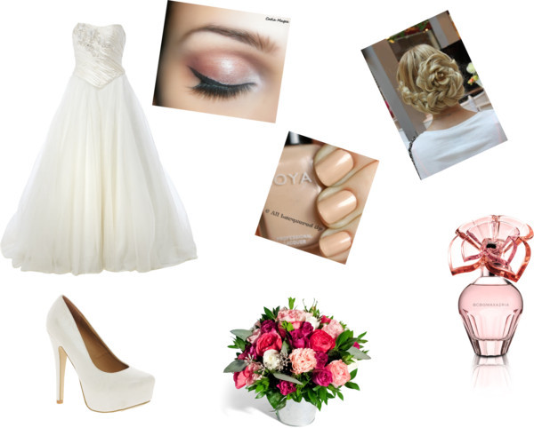 Wedding Dress♥ by dessiree41 featuring bcbgmaxazria perfumeSilk wedding gown / New Look stiletto pumps, $38 / Eyeshadow / BCBGMAXAZRIA  perfume / Ode à la ROSE Garden Roses