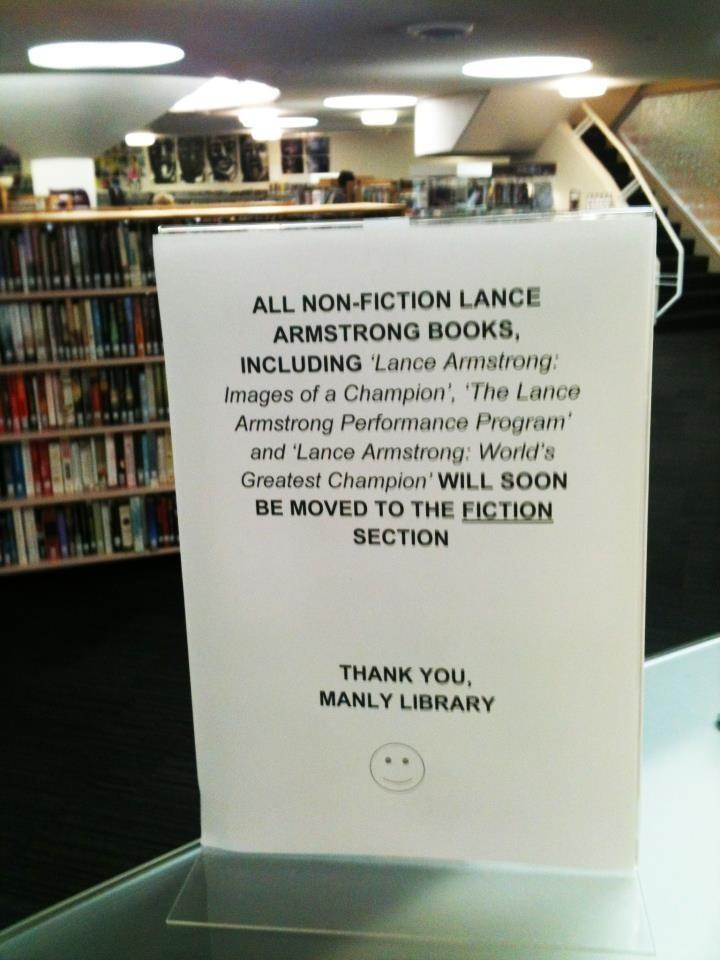 What do you do with all the Lance Armstrong books? This library has the answer.