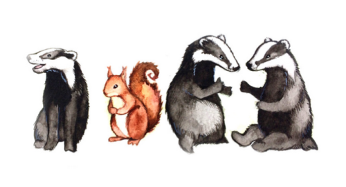 colored illustration of one squirrel, alone, among three badgers who are conversing with each other