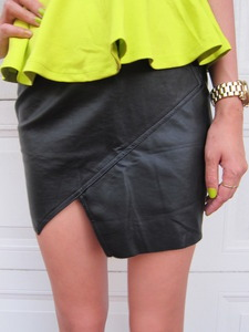 wantering:  Mega Angled Leather Skirt