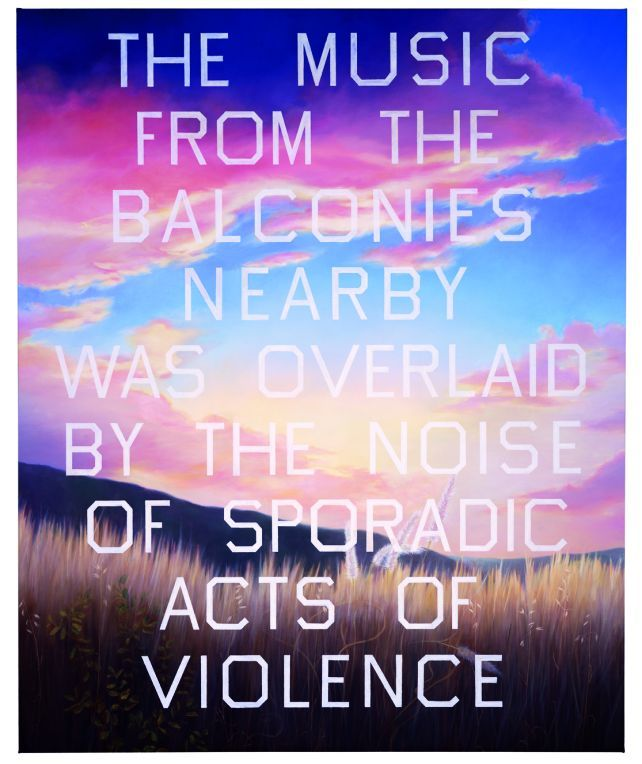 Love this one - Ruscha's homage to J.G. Ballard - The Music From The Balconies…, 1984. Oil on canvas, 99 x 81 in. Quote is from the amazing novel High-Rise, published in 1975.