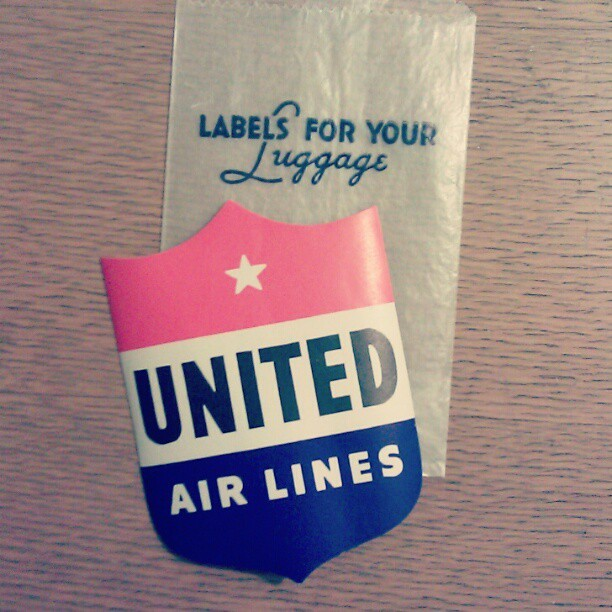 Vintage luggage tags for all your travel needs #redwhiteblue #vintage #vintagelover #collector #type #unitedairlines #travel #luggage #sticker
