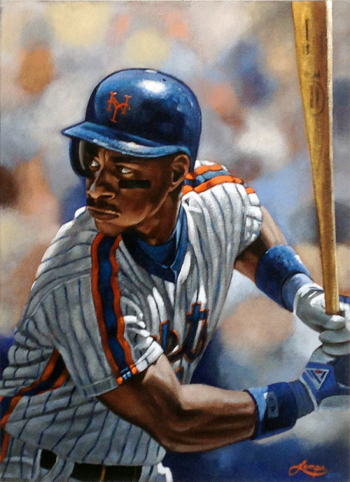 My Darryl Strawberry painting. Darryl Eugene Strawberry (born March 12, 1962) is a former American Major League Baseball outfielder. Strawberry was well known for his play on the field and for his controversial behavior off it. Throughout the 1980s and early 1990s, Strawberry was one of the most feared sluggers in the game, known for his prodigious home runs and his intimidating presence in the batter's box with his 6-foot-6 frame and his long, looping swing that elicited comparisons to Ted Williams.[1][2] During his 17-year career, he helped lead the New York Mets to a World Series championship in 1986 and the New York Yankees to threeWorld Series championships in 1996, 1998 and 1999. A popular player during his career, Strawberry was voted to the All-Star Game eight straight times from 1984–1991.[