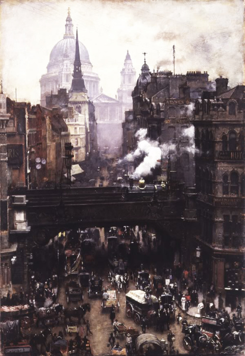 William Logsdail - St. Paul's and Ludgate Hill (c. 1884).