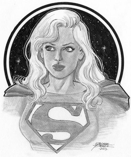 Supergirl by George Perez, produced as a commission for the (postponed) Boston Comic Con.