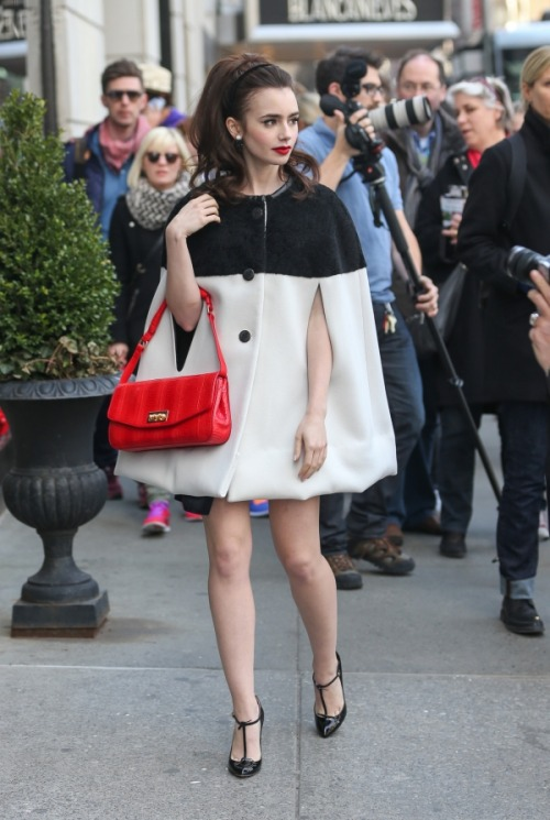 heyskinnybitch:  louisvu-tton:  Lily Collins!     I just really like this. The hair and jacket and shoes. Everything.