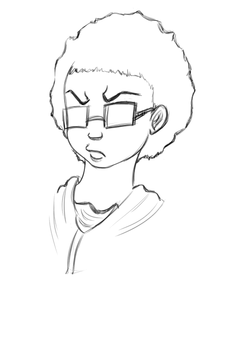 Doodled myself in Boondocks style. Ish. I like the sans eyes version more, I think. Goodnight, Tumblr.