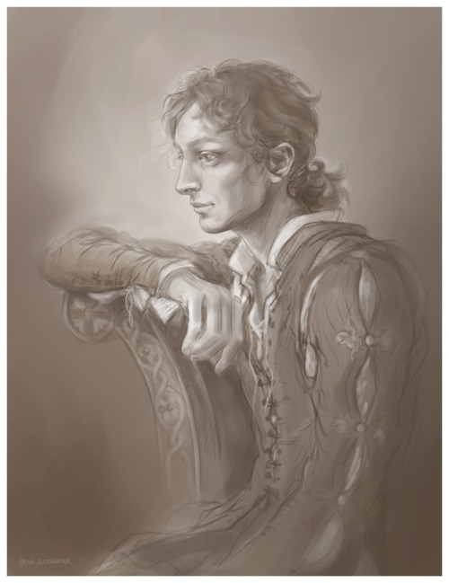 Leonardo Portrait(Reconstruction - sketch)  I was commissioned to do a classical oil portrait of 'the young Leonardo', and this is the first general idea for it. It was approved by the client, which means I can now continue adding a few more compositional details and refine everything before transferring it to canvas.