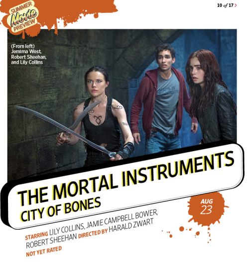 Hello,adorable Simon, badass Izzy, and worried-looking Clary! I love the seraph blades. You can click below for a little preview of the preview, but pick up the magazine for the full story. :) tmisource:  New MORTAL INSTRUMENTS still revealed in Entertainment Weekly's Summer Preview issue