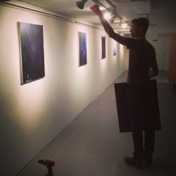 @waynestokes installing Dichrome  (at Lincoln Arts Project)
