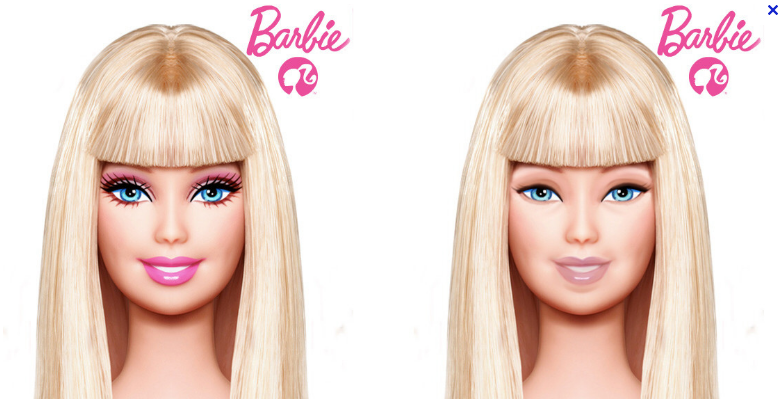 A much, much, much more realistic and accurate depiction of Barbie without make-up than the one going around where she looks seriously ill.