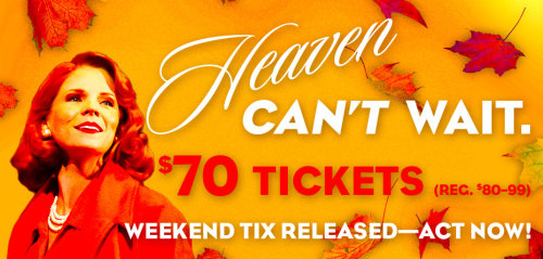 SPECIAL: we've released a limited number of Far From Heaven tickets for THIS WEEKEND ONLY, meaning tonight through Sun evening. Act NOW and get 'em for $70 (reg. $80-99) through Facebook only.