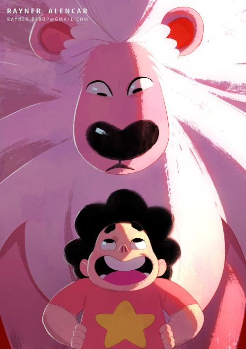 steven universe lion rebecca sugar cartoon network rayner alencar illustration animation crystal gems gems