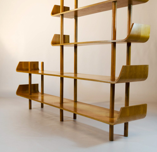 birch wood shelving by Wilhelm Lutjens for De Boer in Gouda 1953