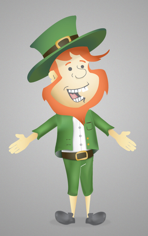 A leprechaun I drew for use in an animated game.