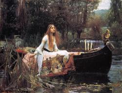 "John William Waterhouse (1849-1917), The Lady of Shalott, 1888, National Gallery, London. And sometimes thro' the mirror blue  The knights come riding two and two: She hath no loyal knight and true,  The Lady of Shalott.  But in her web she still delights  To weave the mirror's magic sights,  For often thro' the silent nights  A funeral, with plumes and lights,  And music, went to Camelot:  Or when the moon was overhead,  Came two young lovers lately wed;  ""I am half-sick of shadows,"" said  The Lady of Shalott."