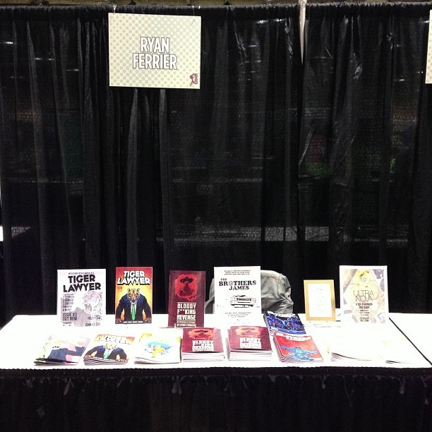 rferrier:  I'm all set up. If you're at the #CalgaryExpo this weekend, come visit me at P05  Visit this man, buy his comics!