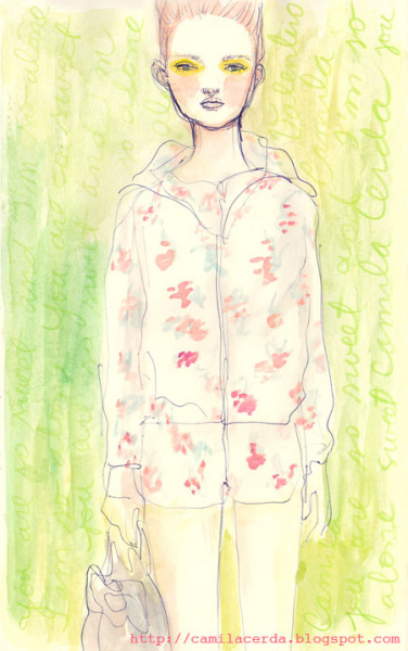 *And I'm so alone* Red Valentino SS 12 Watercolor, ink pen Illustration by Camila Cerda