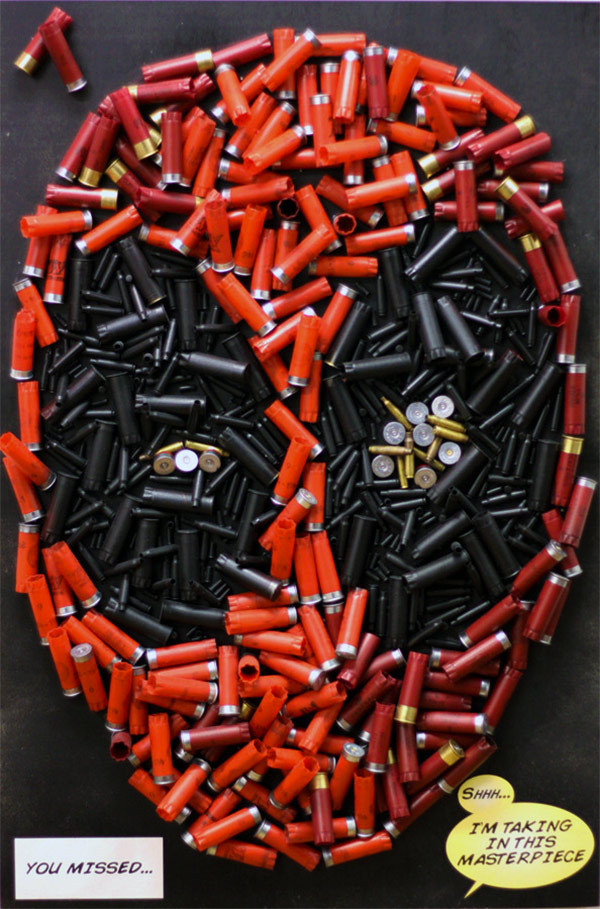 "Deadpool's Face Made Out Of Shotgun Shells Mike Oncley used 200 shotgun shells and 250 brass casings to create this mixed-media portrait of Deadpool titled ""You Missed."" Here's a video showing how it was made:  Yeah, this is pretty cool, but Deadpool's still our least favorite Marvel character."