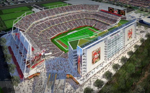 49ers Stadium Exterior on Flickr. Did technology help bring 2016 Super Bowl to the Bay Area?  A look at the new Levi's Stadium in Santa Clara, Calif., the near future home of the San Francisco 49ers. Builders promise unsurpassed Internet connectivity as among its technology features.  Photo courtesy of San Francisco 49ers. Intel Free Press story: 49ers Bet on Technology to Boost Fan Experience — Silicon Valley NFL stadium promises to be hi-tech showcase for 'smart' features.