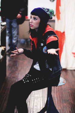 moymoney:  Cutie pie Kreayshawn rocking an ADEEN toque at Community54 in Toronto.