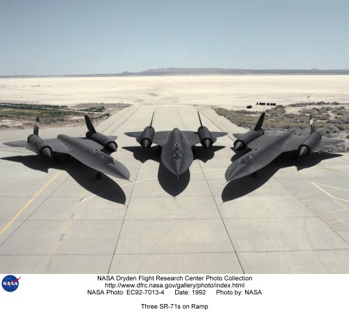 Three SR-71s on Ramp via Dryden Flight Research Center