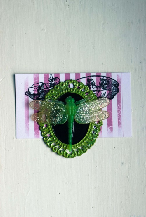 Lime green GITD, holographic glitter dragonfly brooch at TDOAP