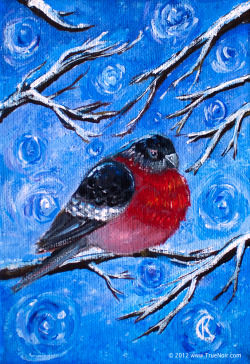 Evening Snow and Eurasian Bullfinch  This type of bird is common in Ukraine and Russia. Every winter, they would come and brighten up white snowy trees with red dots. This is my favorite winter bird :) Acrylic on stretched canvas. 5 x 7in, 0.6in thick.