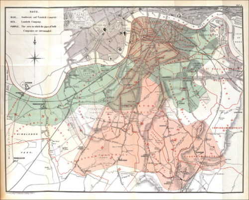 "Map showing ""Intimate mixture of the water supply of the Lambeth with that of the Southwark and Vauxhall Company, 1854—55"", from the second edition of John Snow's On the Mode of Communication of Cholera (published by J Churchill, 1855) — The Lancet"
