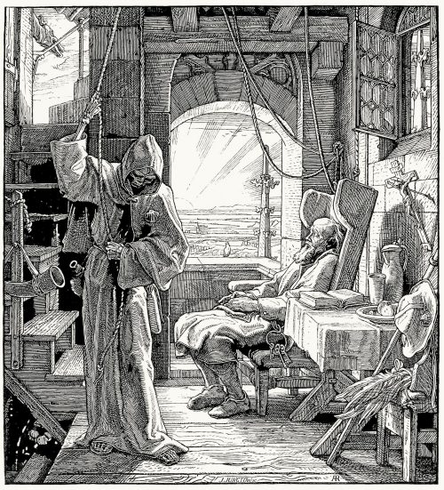 oldbookillustrations:  Death as friend (1851). A. Rethel, from Alfred Rethel; des Meisters Werke (Alfred Rethel, the master works), by Josef Ponten, Stuttgard & Leipzig, 1911. (Source: archive.org)