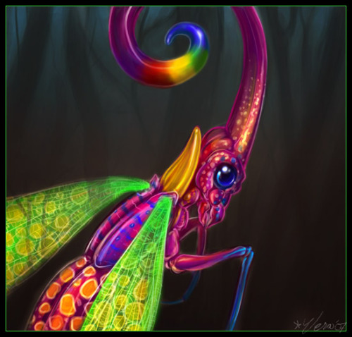 Not sure what to post lately, so here, have an old trippy bug painting from 2007. (deviantART)