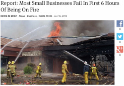 theonion:  Report: Most Small Businesses Fail In First 6 Hours Of Being On Fire: Full Story