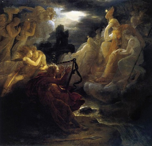 Ossian Awakening the Spirits on the Banks of the Lora   with the Sound of his Harp  (1801)by François Gérard #francois gerard#françois gérard#art#poetry#spectral #music in art