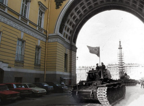 """Sergey Larenkov is a Russian photographer that composites WWII photos from the early 1940s to present day identical locations from Berlin, Paris, Vienna, Leningrad, Prague, and other European cities. By merging these two timelines in perspective, this allows the viewers to visualize the ordeal of emotions through digital time travel."" sergey-larenkov via emptykingdom (description via emptykingdom)"