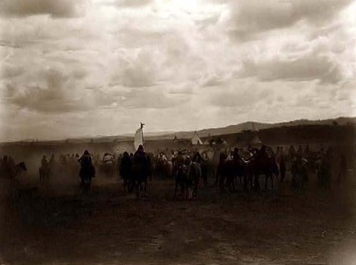 Jicarilla Apaches on horses. Taken in 1905 by Edward S. Curtis.
