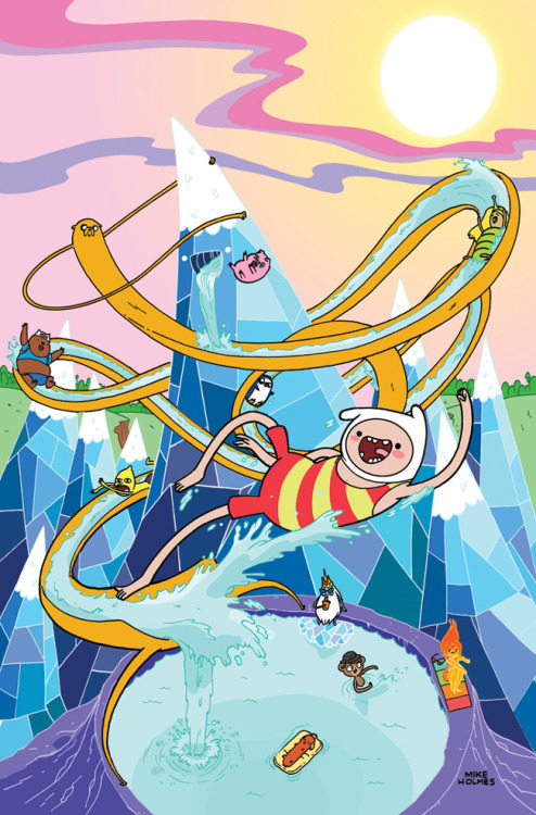 "therealmikeholmes:  My ""A"" cover for Adventure Time #19 is now up! Who likes summer fun? -Mike"