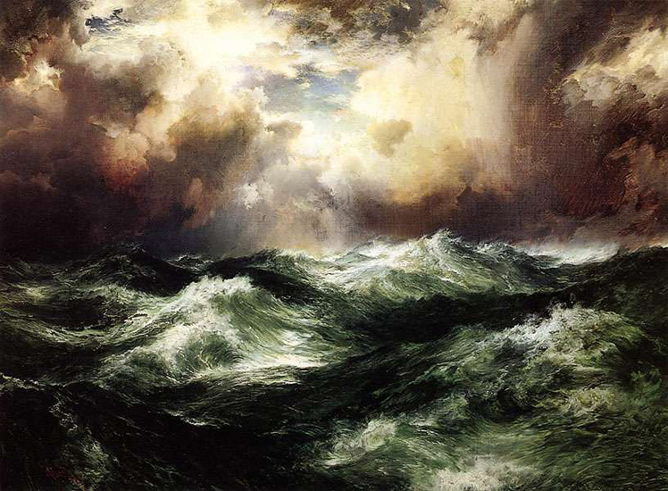 "historyartandstuff:  Thomas Moran (1837 - 1926), American artist, part of the Hudson River School. 1902 ""Moonlight Seascape"""