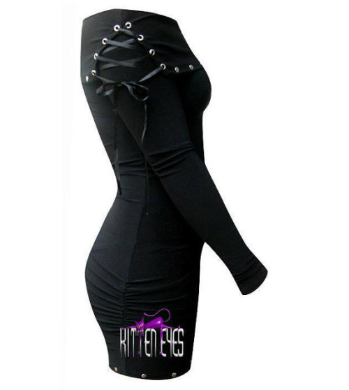 Stretch fabric mini dress with studs and ribbons. Find this and more on our Etsy Store!