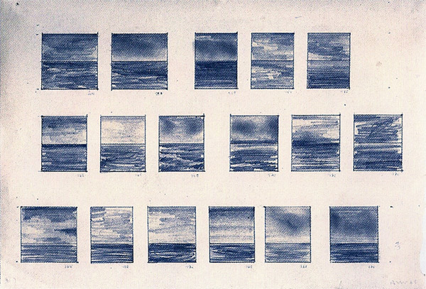 endthymes:  gerhad richter, 17 seestücke/17 seascapes (1969); graphite and ballpoint pen on paper, 8 1/2 x 12 inches