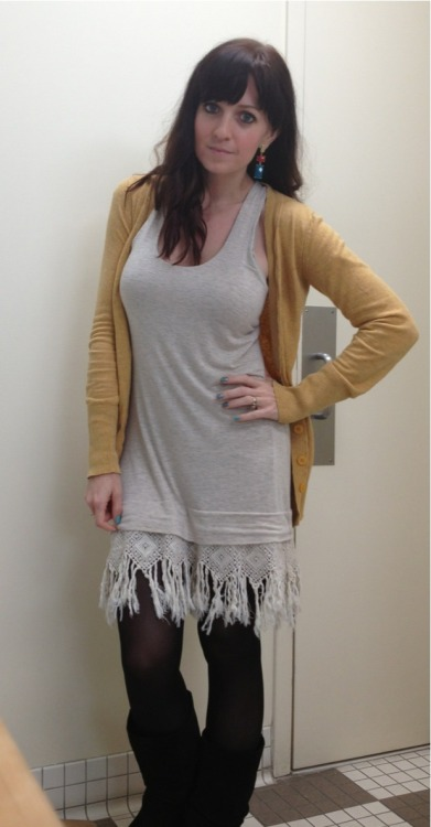 Super belated outfit post for today…  Dress- anthropologie last year in think. On sale of course $30-40 Tights-Walmart $5 Cardigan- target years ago $12 ish Boots- gift from my mom Earrings- local shop $12