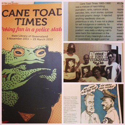 Reading about The Cane Toad Times magazine, an alternative and satirical  Brisbane publication in the late 70s. Just quietly, something I wanna tick off the bucket list is to create some kind of political/news satire, like The Chaser. I think it would be highly appropriate in this current political climate.