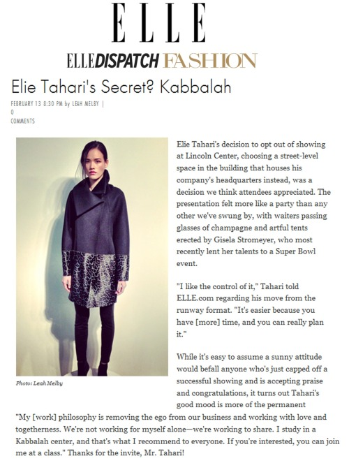 Elle talks to Elie about Fall '13.