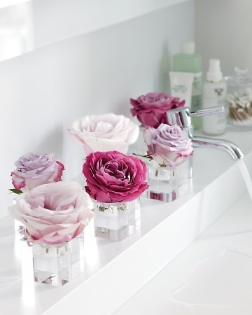 Single roses as bathroom decor.